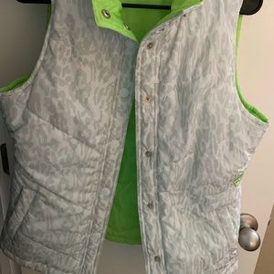 Reversible lime green and white cheetah vest